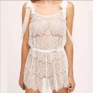 Anthropologie Twigs & Honey White Lace Romper